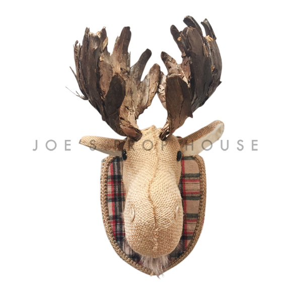 Faux Burlap Moosehead Wall Mount Taxidermy