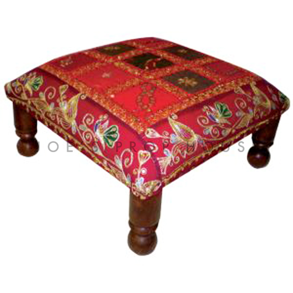 Reeda Patchwork Low Bench Red W16in x D16in x H7in