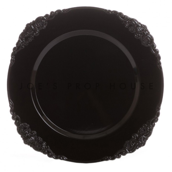 Black Ornate Charger Plate
