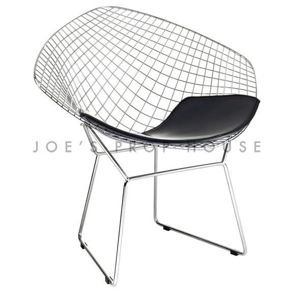 Replica Bertoia Wire Chair Black Cushion
