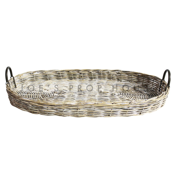 Holder Whitewash Wicker Serving Tray Large