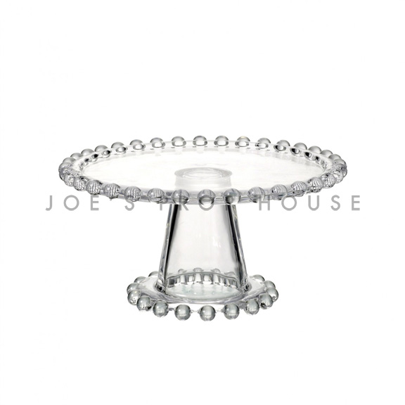 Beatrice Clear Beaded Cake Stand Small