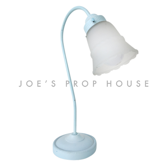 Tulip Frosted Glass Gooseneck Table Lamp Light Blue