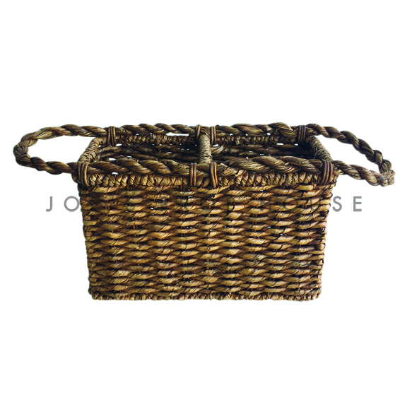 Sana Rectangular Wicker Bottle Holder w/handles