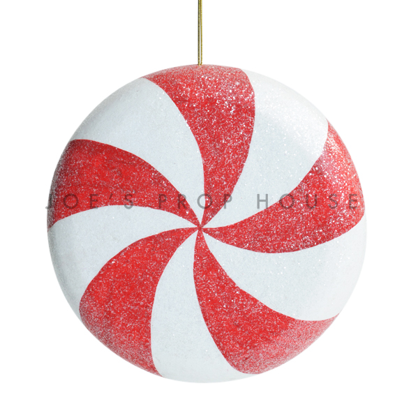 Giant Red and White Frosted Peppermint Swirl Hanging Candy