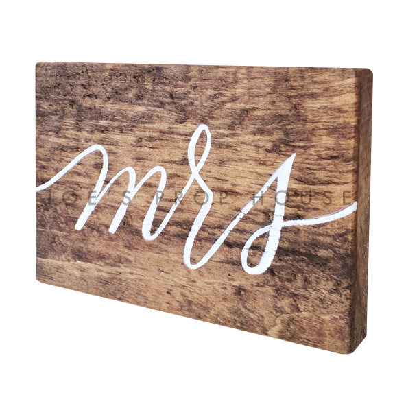 Wooden Table Number Block MRS W7in x H5in
