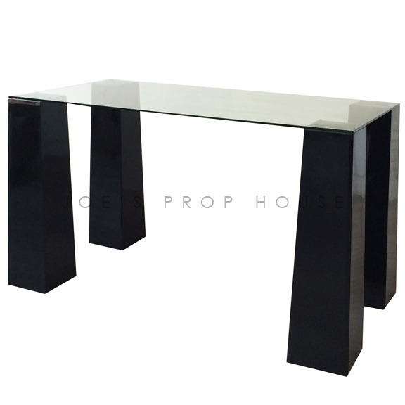 Rectangular Glasstop Console w/Black Tapered Risers
