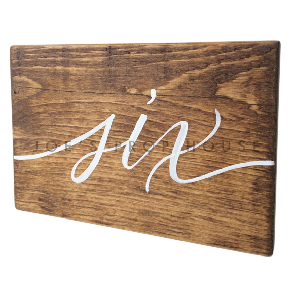 Wooden Table Number Block SIX W7in x H5in