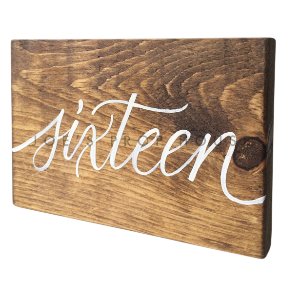 Wooden Table Number Block SIXTEEN W7in x H5in