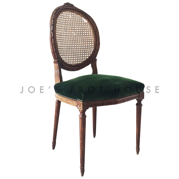 Maya Cane Back Green Velour Chair