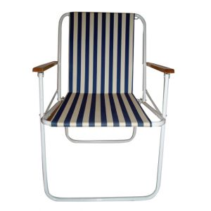 Blue Striped Folding Chair