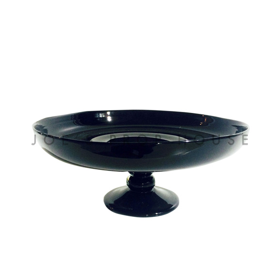 Nero Round Glass Cake Stand Medium Black D10in
