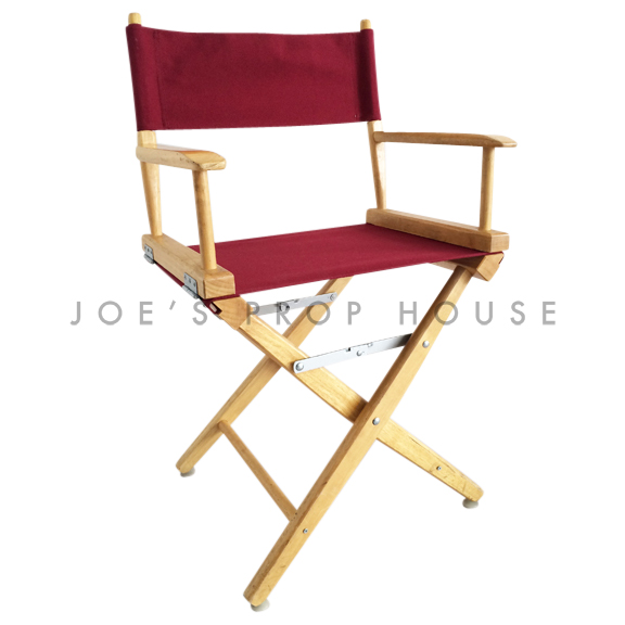 Burgundy Director Chair w/Wood Frame