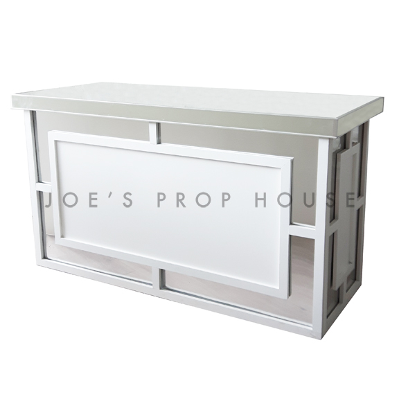 Hollywood Regency Bar White w/Mirror Top L6ft