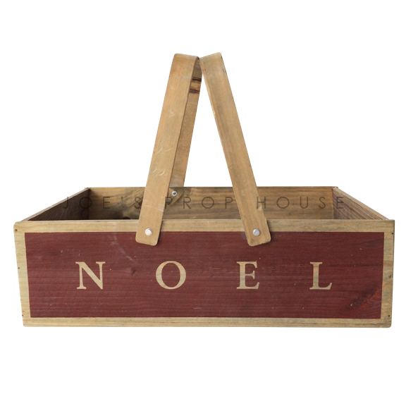 NOEL Wooden Basket w/Handles LARGE