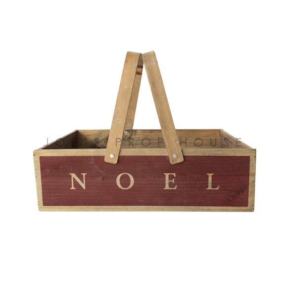 NOEL Wooden Basket w/Handles SMALL