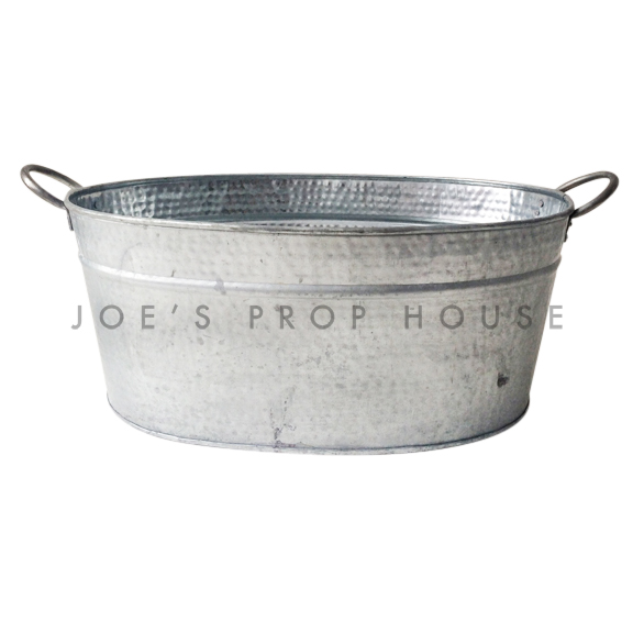 Oval Hammered Galvanized Metal Bucket w/Handles