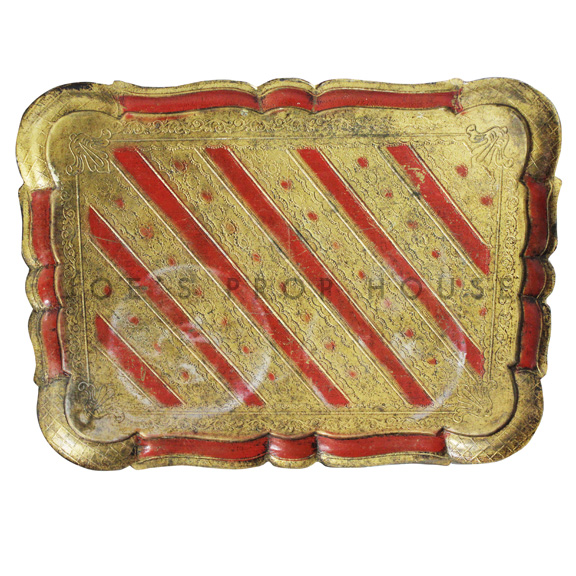 Marokko Rectangular Wood Serving Tray Gold w/Red Trim