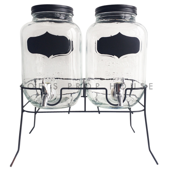 Dellan Double Glass Water Dispensers w/Black Labels and Metal Stand