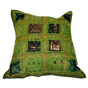 Lareda Patchwork Embroidered Pillow Green