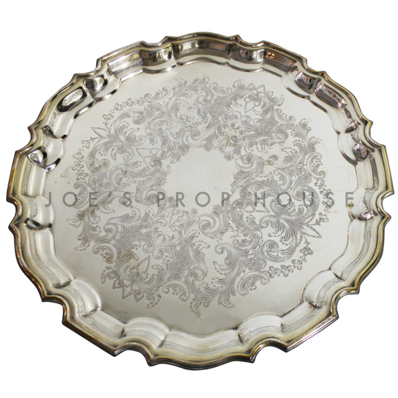 Diana Engraved Round Scallop Silver Serving Tray