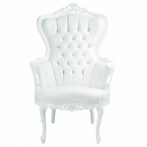 Baroque Tufted King Armchair White