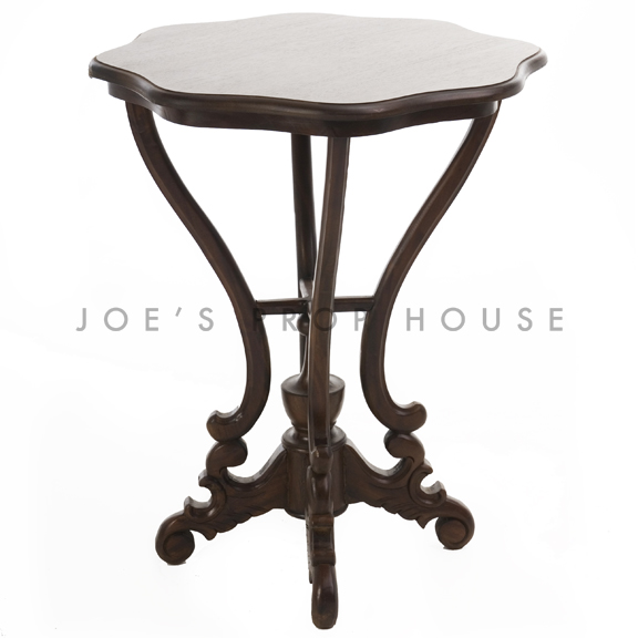 Scallop Round End Table Brown