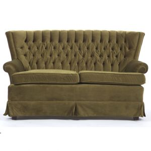 Mildred Velour Loveseat Green