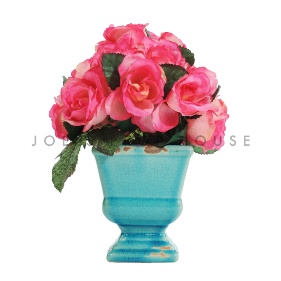 Artificial Potted Roses Arrangement Hot Pink
