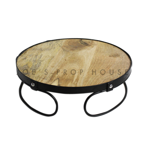 Embla Round Wood & Metal Cake Stand Medium