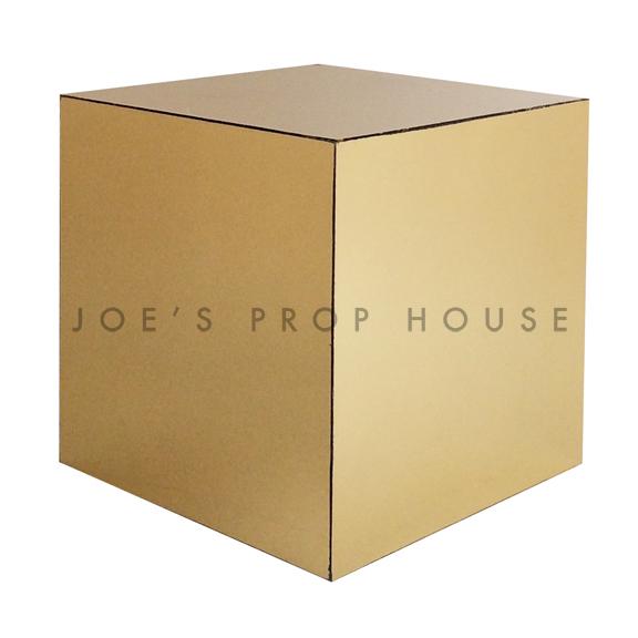 Mirror Gold Cube Riser W10in x H10in x D10in