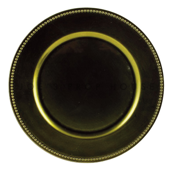 Olive Green Beaded Charger Plate