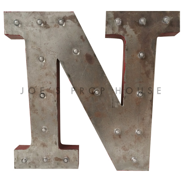 18in Galvanized Metal Marquee Letter N
