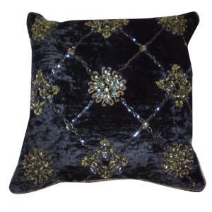 Elizabeth Beaded Velour Accent Pillow Black