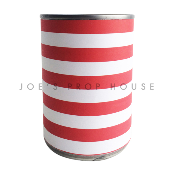 Red and White Striped Metal Cans
