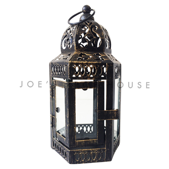 Amali Distressed Metal Lantern SMALL Black