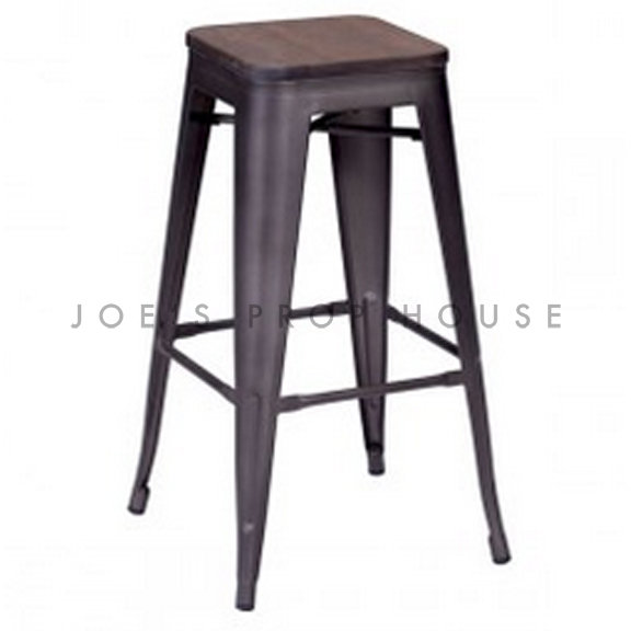 Industria Gunmetal Stool w/Wood Seat