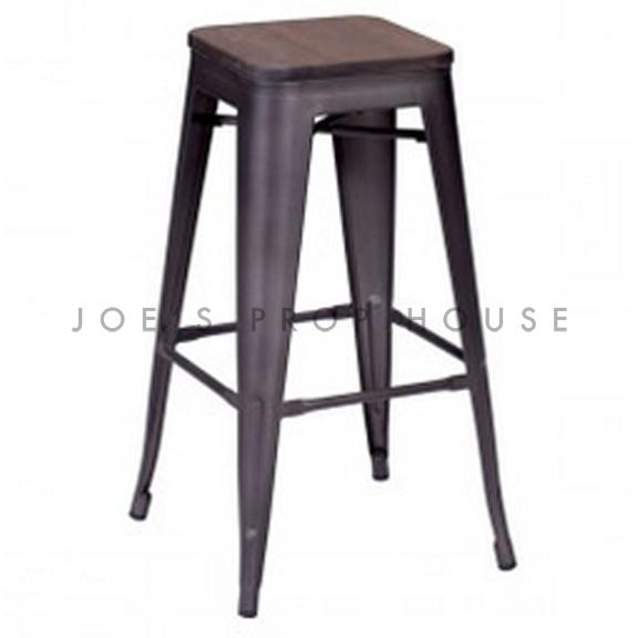 Industria Gunmetal Stool w/Wood Seat