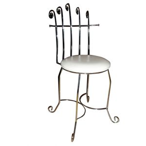 Leslie Vanity Metal Chair White