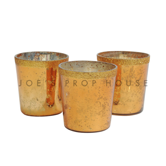Mercury Glass Votive Cups Gold