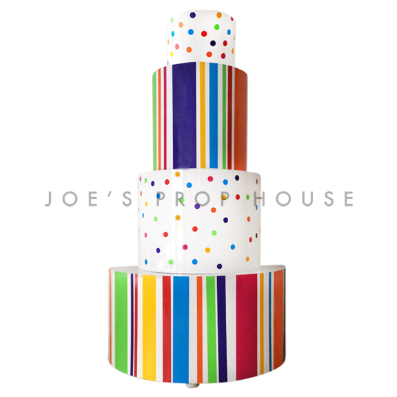 Giant Rainbow 4 Tier Stripe and Polka Dot Cake H11.5ft