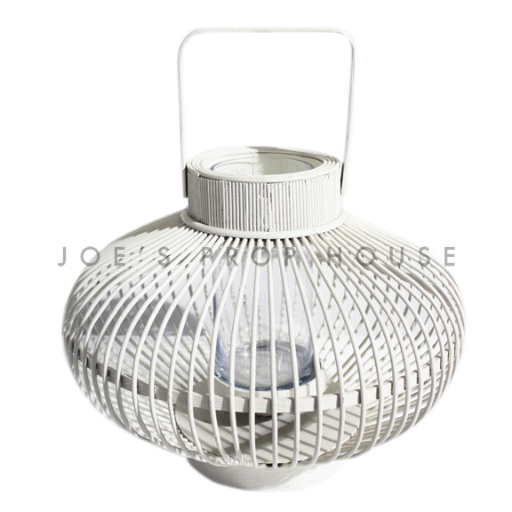 Gardenia Wicker Lantern White Small