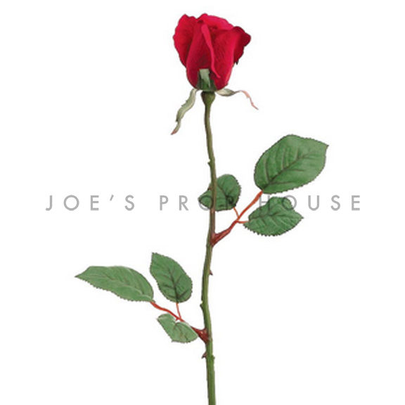 Artificial Long Stem Closed Rose Red