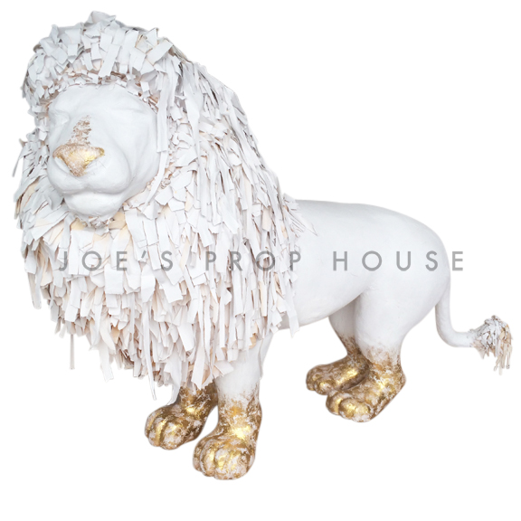 Lifesize Papier Maché Lion White/Gold