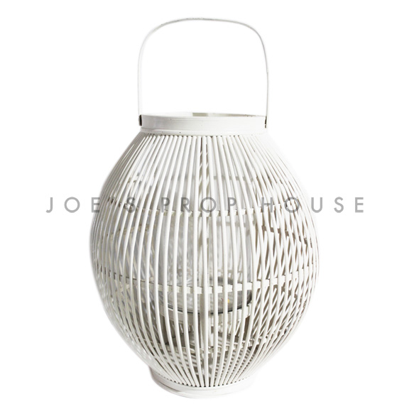Gardenia Wicker Lantern White Large