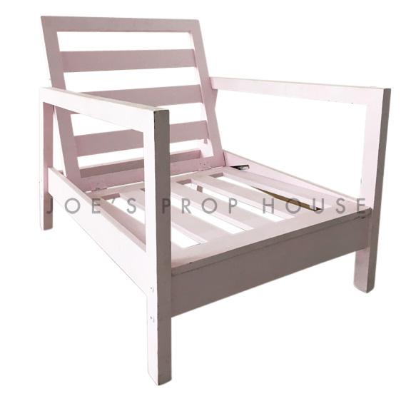 Evon Wooden Lounge Armchair Pink