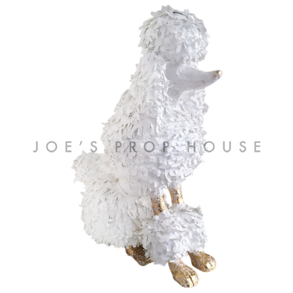 Lifesize Sitting Papier Maché Poodle White/Gold