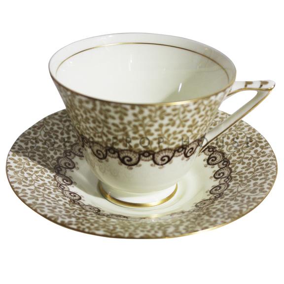 Margaret Floral Leaf Teacup and Saucer