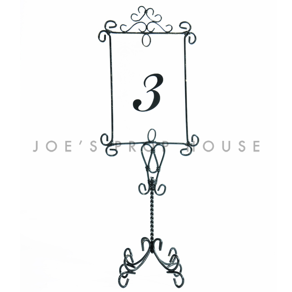Vertical Wire Table Number Frame Black