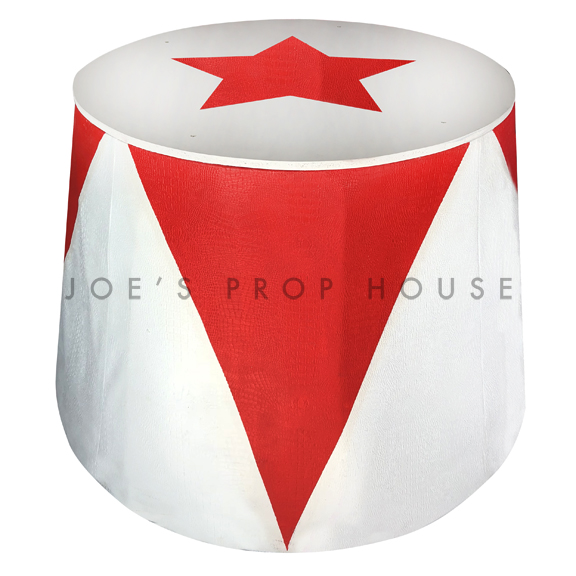 Circus Red + White Diamond Podium D36in x H32in